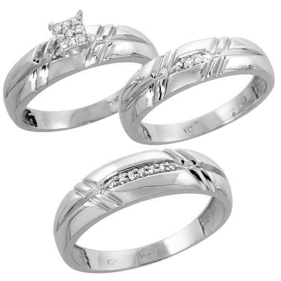 10k White Gold Diamond Trio Wedding Ring Set 3 Pcs Boutique